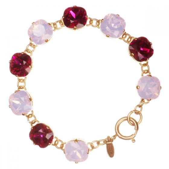 Catherine Popesco Large Stone Crystal Bracelet - Pink Fuchsia & Rosewater Combo