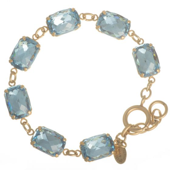 Catherine Popesco Pillow Cut Crystal Bracelet - Aqua and Gold