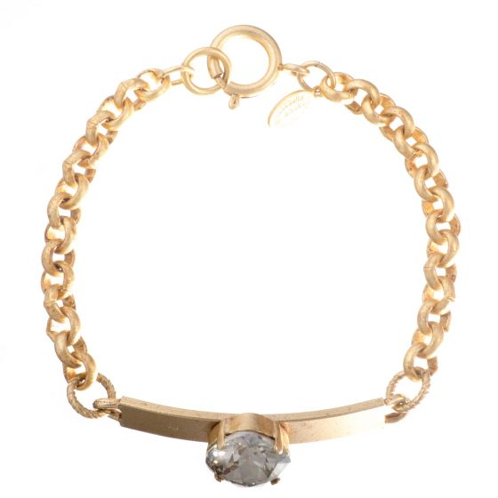 Catherine Popesco Large Stone Crystal ID Bracelet - Assorted Colors in Gold