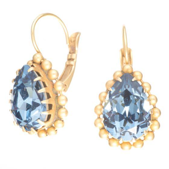 Catherine Popesco Midnight Blue Crystal Teardrop Beaded Gold Fixed Wire Earrings