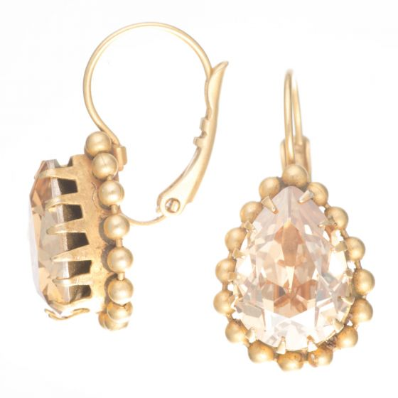 Catherine Popesco Champagne Crystal Teardrop Beaded Gold Fixed Wire Earrings