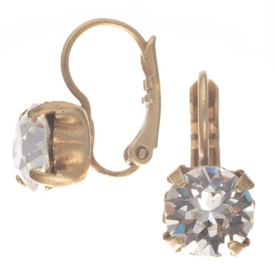 Catherine Popesco Diamond Fixed Hinged Crystal Earrings in Gold