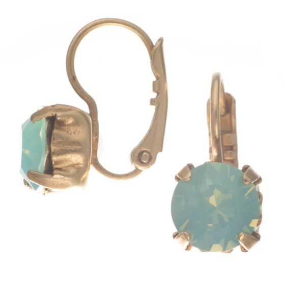 Catherine Popesco Pacific Opal Fixed Hinged Crystal Earrings in Gold