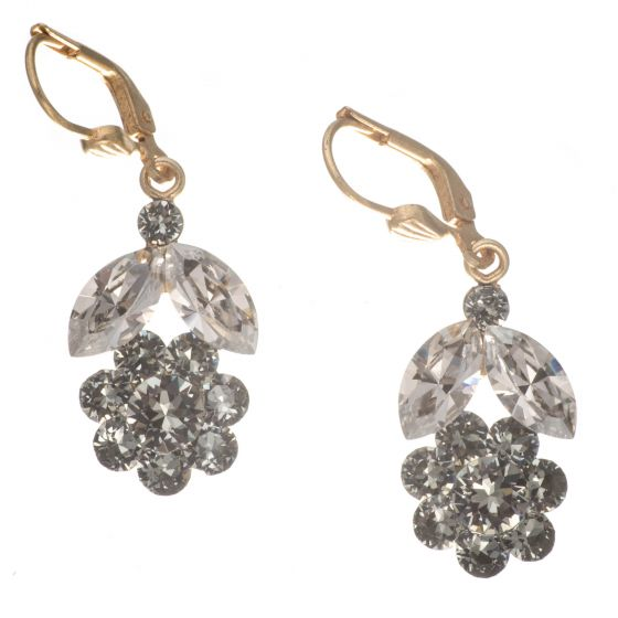 Catherine Popesco Shade and Black Diamond Flower Earrings in Gold