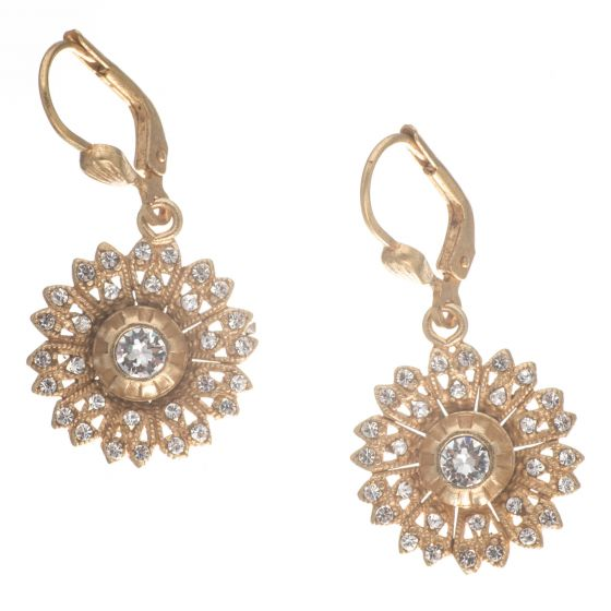 Catherine Popesco Gold Flower Rhinestone Earrings - Assorted Colors