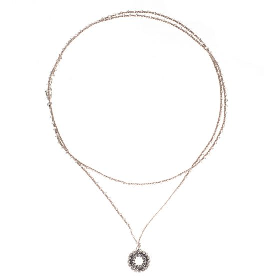 Catherine Popesco Beaded Cord Necklace with Crystal Circle