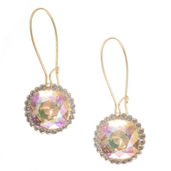Catherine Popesco Long Crystal Hoop Earrings - Paradise Shine