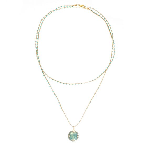 Catherine Popesco Turquoise Beaded Cord Necklace with Pacific Opal Crystal