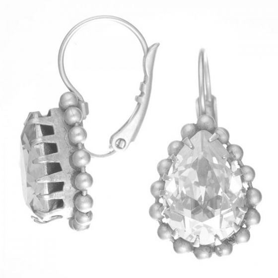 Catherine Popesco Shade Crystal Teardrop Beaded Silver Fixed Wire Earrings
