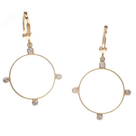 Catherine Popesco Gold Hoop with Crystal Dots Earrings