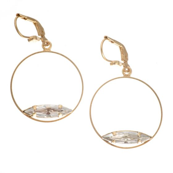 Catherine Popesco Gold Hoop with Marquise Crystal Earrings