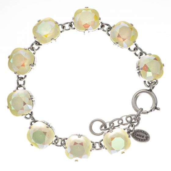 Catherine Popesco Large Stone Crystal Bracelet - Lemonade and Silver