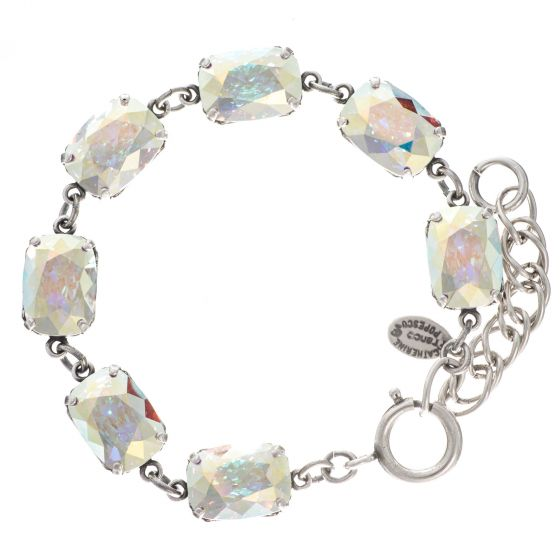 Catherine Popesco Pillow Cut Crystal Bracelet - Crystal AB in Silver