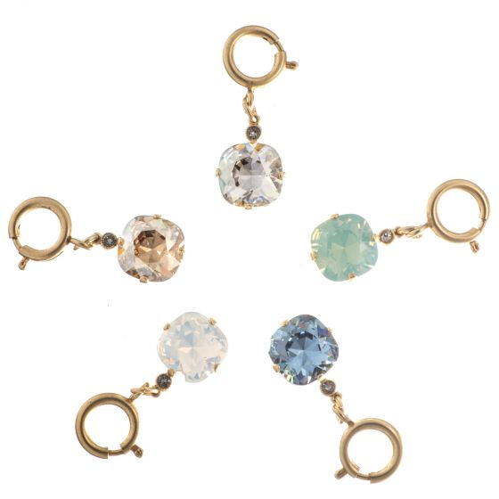 Catherine Popesco Large Stone Crystal Purse Charm - Assorted Colors in Gold or Silver