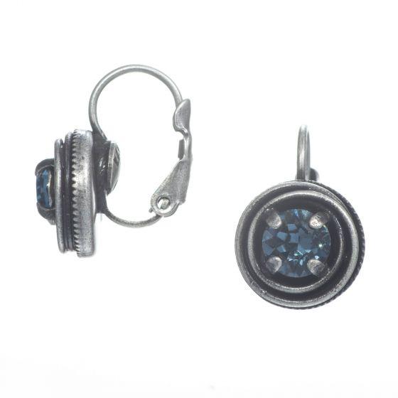 Konplott Jewelry by Miranda Ko Small Blue Denim Silver Cages Earrings