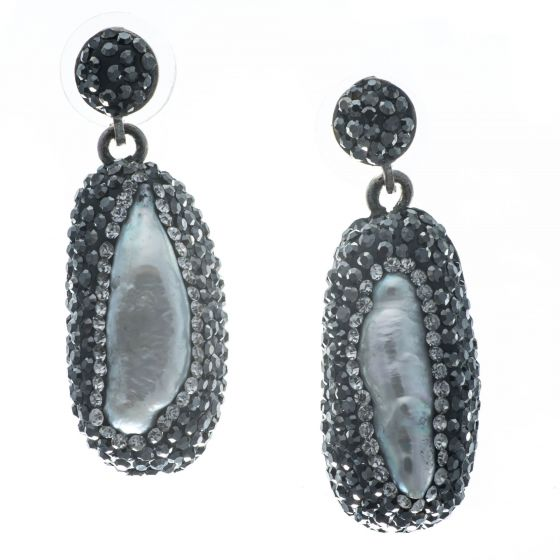 Gorgeous Baroque Pearl and Hematite Post Earrings in Sterling Silver