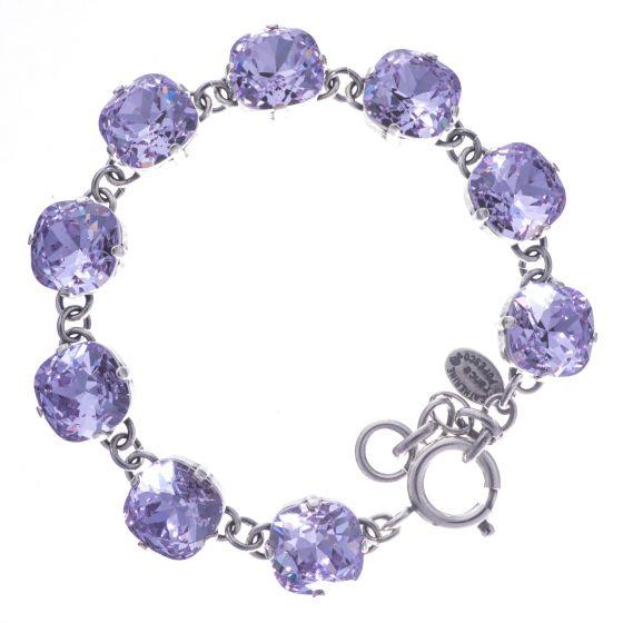Catherine Popesco Large Stone Crystal Bracelet - Violet and Silver