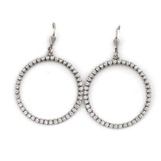 Catherine Popesco Silver and Clear Crystal Hoop Earrings