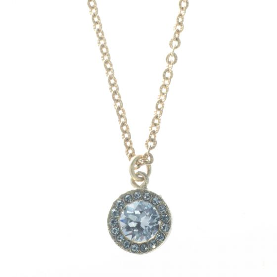 Catherine Popesco Gold Petite Round Rhinestone Pendant Necklace