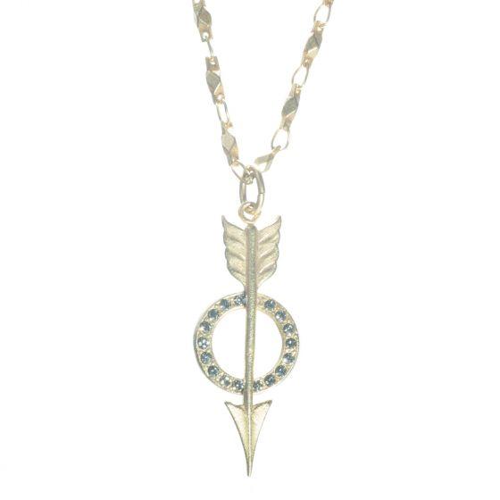 Catherine Popesco Gold Black Diamond Arrow Pendant Necklace