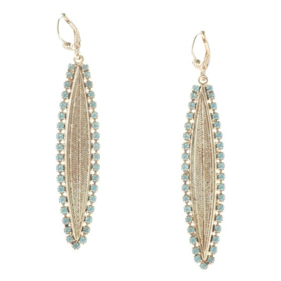 Catherine Popesco Lineage Oblong Earrings with Pacific Opal Rhinestone Border