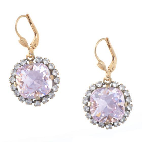 Catherine Popesco Large Stone Earrings with Surrounding Crystals - Assorted Colors in Gold