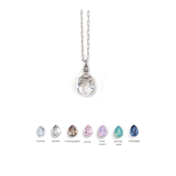 Catherine Popesco Teardrop Crystal Necklace - Assorted Colors in Gold or Silver
