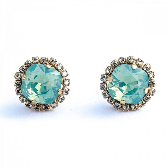 Catherine Popesco Post/Stud Large Stone Earrings with Surrounding Crystals - Assorted Colors