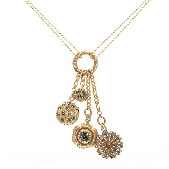 Catherine Popesco Delicate Double Chain Necklace with Dangling Crystal Charms