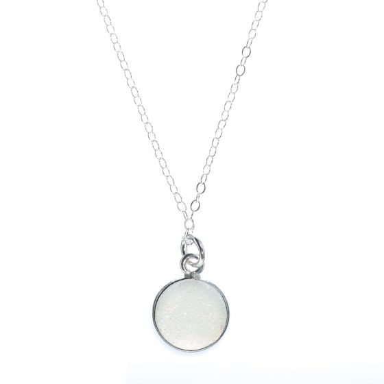 Round Rainbow White Druzy Pendant Necklace with Sterling Silver Chain