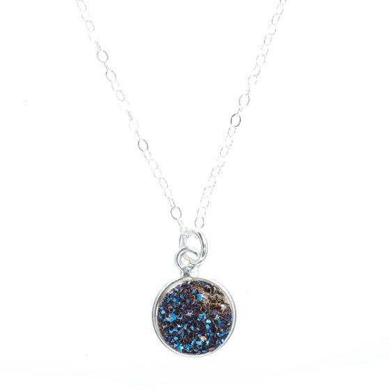 Dainty Round Midnight Blue Druzy Pendant Necklace with Sterling Silver Chain