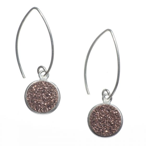 Sterling Silver Marquise Wire Round Pink Copper Druzy Drop Earrings