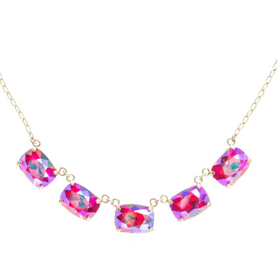Catherine Popesco Five Stone Pillow Cut Crystal Necklace - Assorted Colors