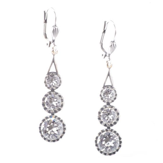 Catherine Popesco Three Stone Crystal Earrings - Assorted Colors