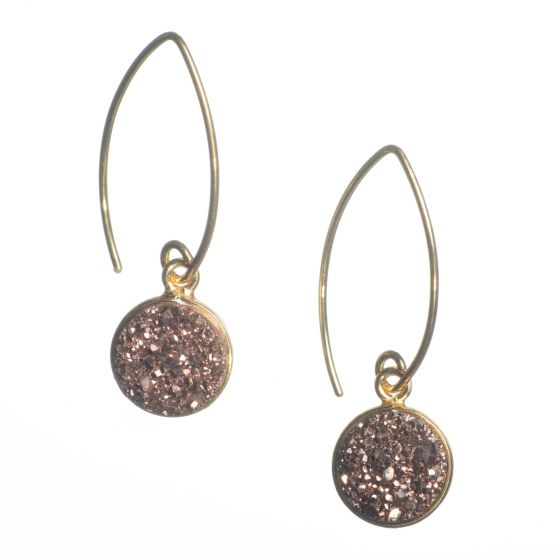 Vermeil Gold Marquise Wire Round Pink Copper Druzy Drop Earrings