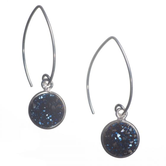 Sterling Silver Marquise Wire Round Midnight Blue Druzy Drop Earrings