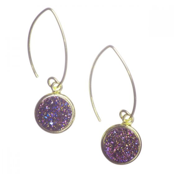 Vermeil Gold Marquise Wire Round Purple Violet Druzy Drop Earrings
