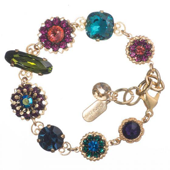 Clara Beau Elegant Multicolor Swarovski Crystal Gold Filigree Bracelet