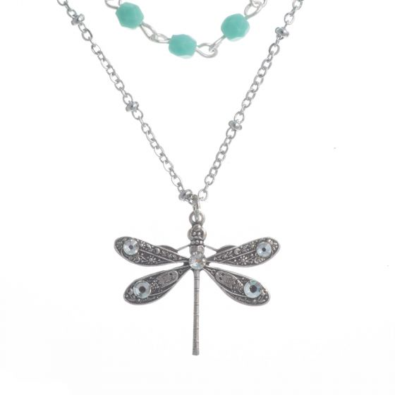 Clara Beau Silver Dragonfly Pendant Turquoise Beaded Necklace