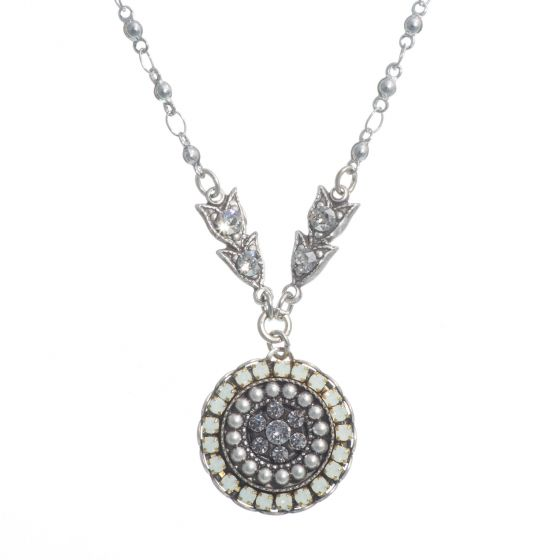 Clara Beau Dazzling Silver White Opal Round Mosaic Crystal Pendant Necklace