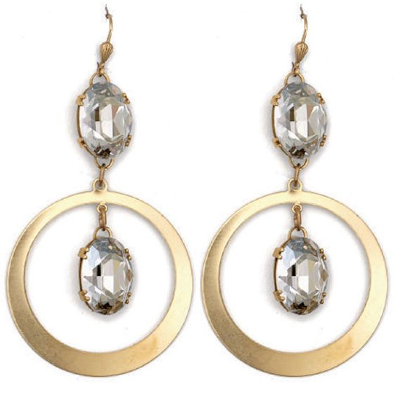 Catherine Popesco Drop Oval Crystal in Circle Earrings - Assorted Colors