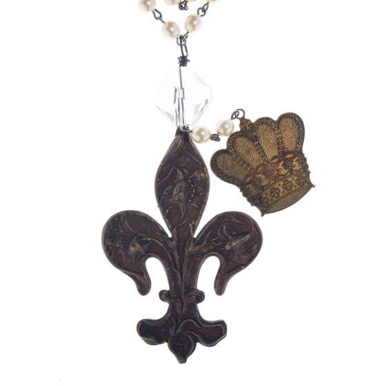 Twigs Crown & Fleur De Lys Pearl Necklace