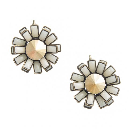 Konplott Jewelry Love You Love You Not White Enamel Daisy Earrings