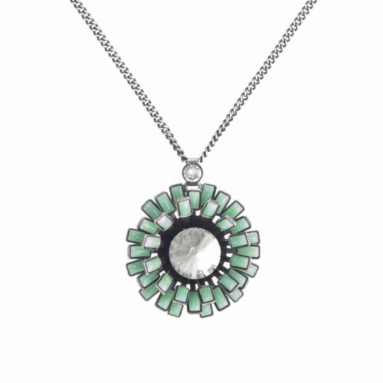 Konplott Love You Love You Not Aqua Green Enamel Daisy Pendant Necklace