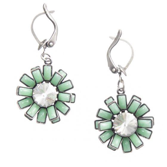 Konplott Jewelry Love You Love You Not Aqua Green Enamel Daisy Earrings