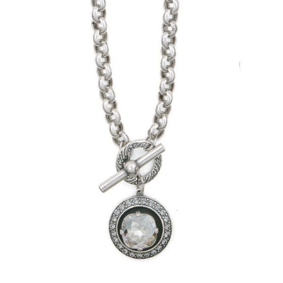 Catherine Popesco Large Stone in Round Crystal Frame Necklace - Assorted Colors