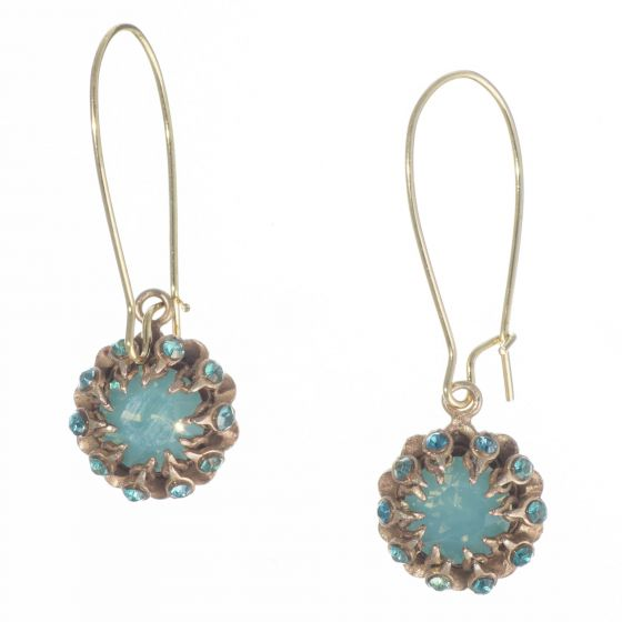 Catherine Popesco Double Crown Bezel Crystal Earrings - Pacific Opal