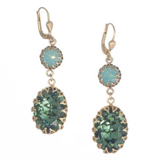 Catherine Popesco Double Encased Crystal Earrings - Pacific Opal & Marine