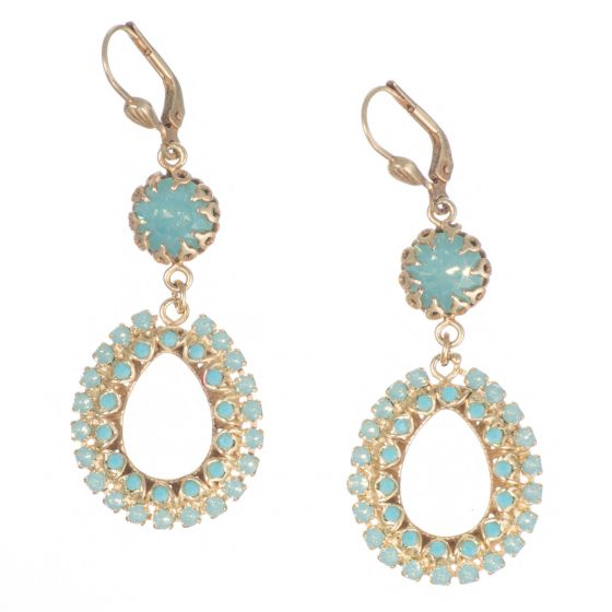 Catherine Popesco Open Teardrop with Top Crystal Earrings - Pacific Opal