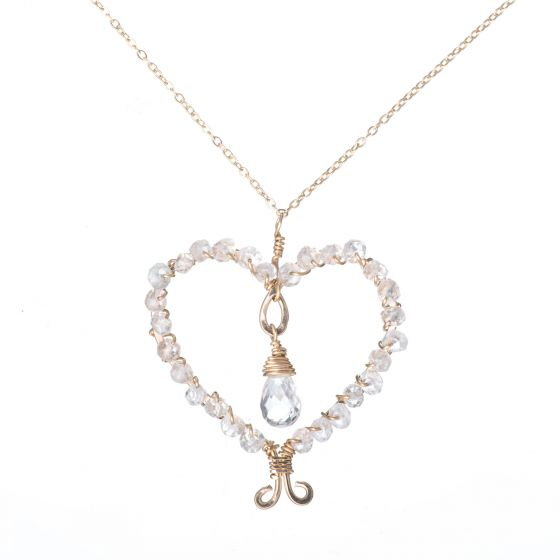 14K Gold Filled Heart Wrapped in White Topaz Pendant Necklace by Rafia